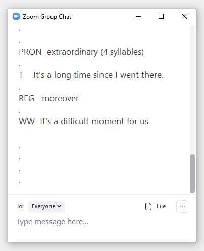 Zoom chat screencap